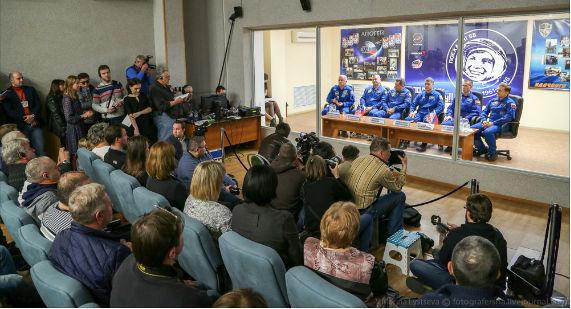 Пресс-конференция на Байконуре накануне старта