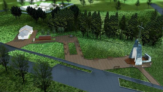 Эскизный проект мемориала, предложенный Ждановым. В его составе—памятник, музей, вагон-теплушка