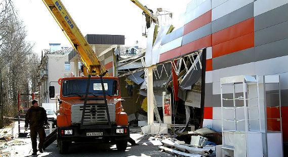 разрушенный магазин в Рыбинске